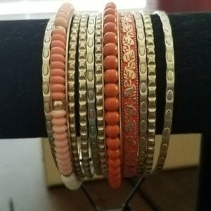 NWT Bracelet Set of 11 Gold Cream Peach Bangles